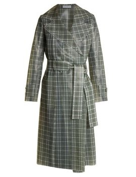 Tie Waist Coated Tartan Trench Coat by Wanda Nylon