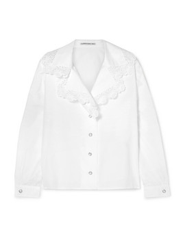Lace Trimmed Cotton Poplin Shirt by Alessandra Rich