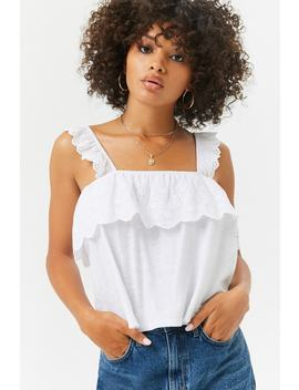 Floral Eyelet Flounce Top by Forever 21
