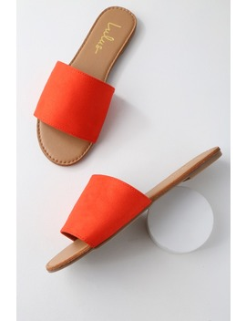 Addison Orange Suede Slide Sandals by Lulus