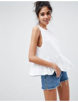 Asos Design Sleeveless Swing Top With Dropped Armhole And Pephem by Asos Design