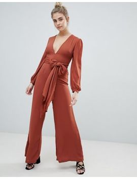 Glamorous Tie Waist Jumpsuit by Glamorous