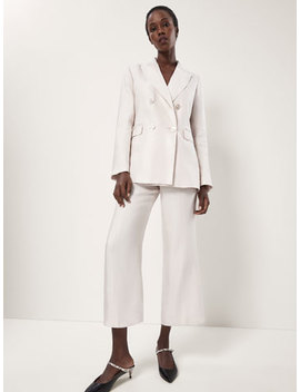 Cropped Shiny Linen Suit Trousers by Massimo Dutti