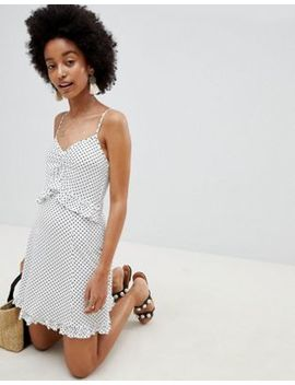 Asos Design Frill Detail Mini Sundress In Mono Polka Dot by Asos Design