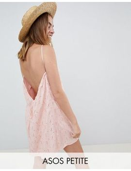 Asos Design Petite Low Back Mini Sundress In Heart Broderie by Asos Design