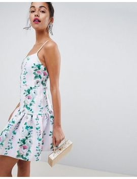 Asos Design Stripe Floral Drop Waist Mini Skater Dress by Asos Design