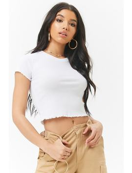 Ribbed Lettuce Edge Tee by F21 Contemporary