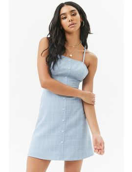 Slub Woven Grid Button Front Mini Dress by F21 Contemporary