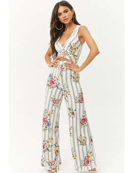 Striped & Floral Cutout Jumpsuit by Forever 21