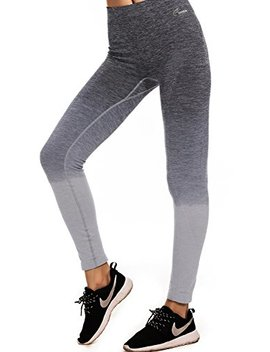 Freeskin Women Ombre Yoga Pants Power Flex High Waisted Stretch Fitness Running Workout Leggings by Freeskin