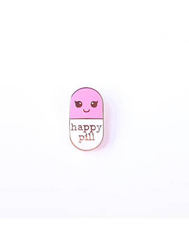 Happy Pill Pink Enamel Pin | Student Gift | Gift Nurse | Gift Pharmacist | Gift Doctor | Enamel Chill Pill Pin | Pill Brooch by Etsy