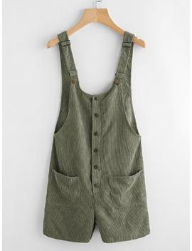 Button & Pocket Front Overall Shorts by Shein