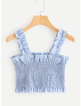 Frill Trim Pleated Crop Top by Sheinside