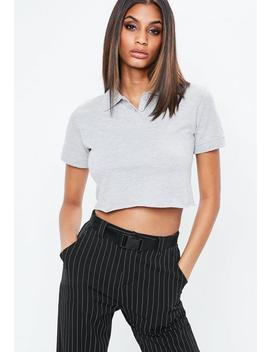 Grey Polo Crop Top by Missguided