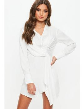 White Asymmetric Knot Front Shirt Dress by Missguided