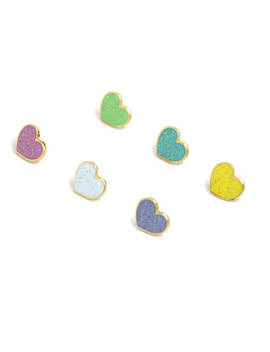 Valentines Day Gift For Her, Rainbow Hearts, Pastel Heart Enamel Pins, Glitter Enamel Pin, Glitter Heart Jewelry, Heart Mini Pins, Heart Pin by Etsy