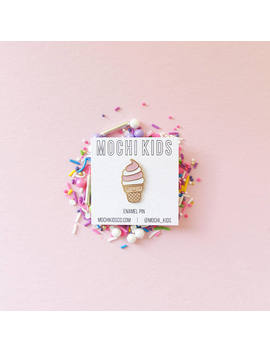 Kawaii Ice Cream Enamel Pin, Ice Cream Pin, Jean Jacket Pin, Kawaii Pin, Millenial Pink Pin, by Etsy