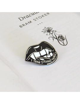 Dracula Enamel Pin   Vampire Enamel Pin Badge    Gothic Literature Collection   Book Lover   Teeth Pin   Halloween   Black And Silver Pin by Etsy