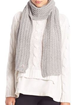 Virgin Wool Knit Scarf by Moncler