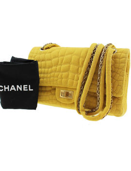 Chanel Quilted Crocodile Motif Shoulder Bag Yellow Canvas Vintage Auth #C576 M by Chanel