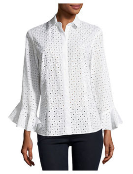Carmella Eyelet Flutter Sleeve Cotton Top by Finley