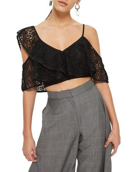 Lace One Shoulder Crop Top by Topshop