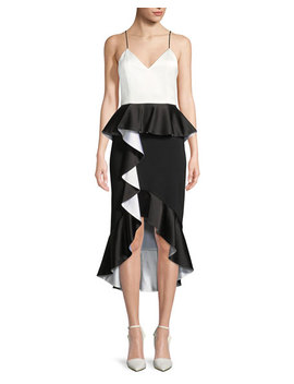 Oriana Sweetheart Neck Peplum Ruffle Date Night Dress by Alice + Olivia