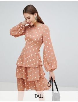 Fashion Union Tall Open Back Midi Dress With Tiered Skirt In Vintage Spot by Fashion Union Tall