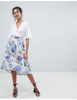 Oasis Floral Bloom Print Dip Hem Midi Skirt by Oasis