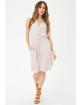 Drawstring Split Neck Dress by Forever 21