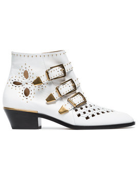 White Susanna 30 Studded Leather Boots by Chloé