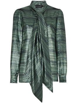 Susanna Silk Neck Scarf Striped Blouse by Haney