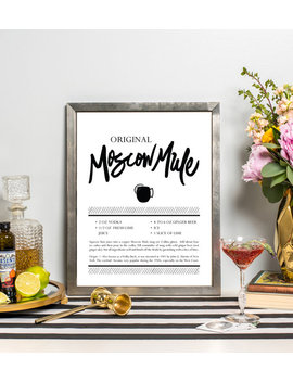Moscow Mule Recipe Art   Drink Recipe Print   Cocktail Art   Bar Cart Art   Kitchen Art   Hand Lettered   Cocktail Gift by Etsy