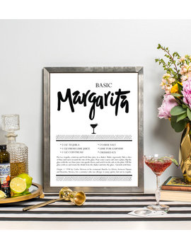 Margarita Recipe Art   Drink Recipe Print   Cocktail Art   Bar Cart Art   Kitchen Art   Hand Lettered   Cocktail Gift by Etsy