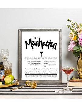 Manhattan Recipe Art   Drink Recipe Print   Cocktail Art   Bar Cart Art   Kitchen Art   Hand Lettered   Cocktail Gift by Etsy