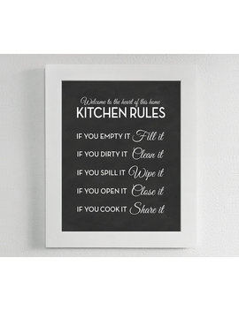 Kitchen Rules Print   Chalkboard, Sign, Poster, Art, Quote, Modern, If You Empty It Clean It by Etsy