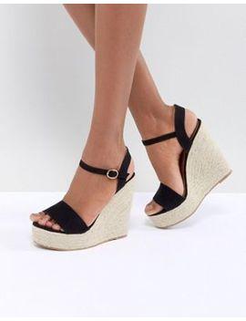 Glamorous Black Espadrille Wedge Sandals by Glamorous