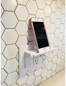 Phone Stand | Phone Holder | Stand | Outlet | Tablet Charger | Charging Station | Wall Decor | Wall Mount | Organization | Phone Storage by Etsy