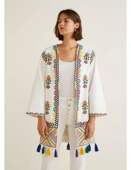 Pom Pom Embroidered Kaftan by Mango