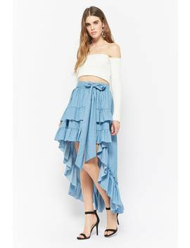 Eta Chambray Ruffle Skirt by Forever 21