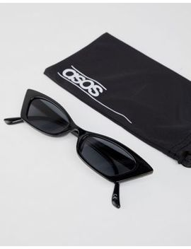 Asos Design Squared Off Narrow Cat Eye Sunglasses by Asos Design