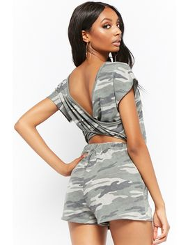French Terry Camo Cutout Romper by Forever 21