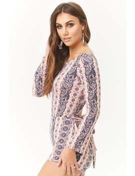 Twist Back Ornate Print Romper by Forever 21