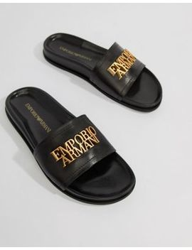 Emporio Armani Leather Slider With Gold Logo by Emporio Armani