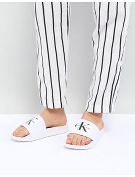 Calvin Klein Chloe White Sliders by Calvin Klein
