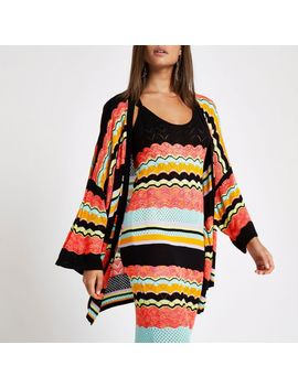 Black Stripe Print Open Front Cardigan                                  Black Stripe Print Open Front Cardigan by River Island