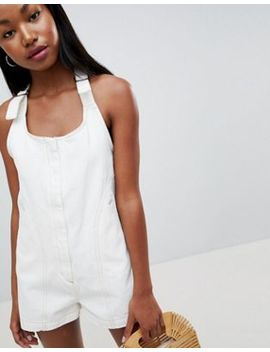 Asos Design Denim Romper In White With Tie Strap by Asos Design