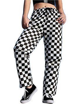 X Future Women's Casual High Waist Loose Pocket Checkered Wide Leg Pants by X Future