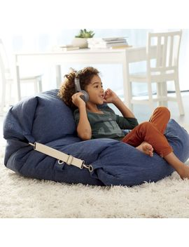 Adjustable Blue Bean Bag Chair by Crate&Barrel