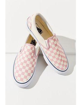 Vans Pink Checkerboard Slip On Sneaker by Vans